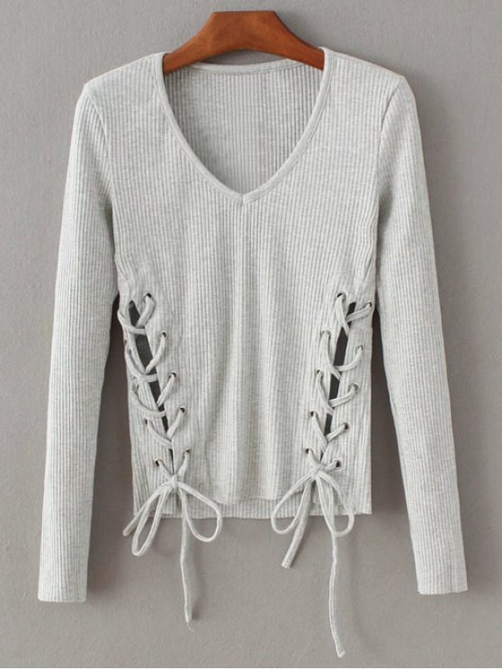 Grommet Lace Up Ribbed Jumper - GRAY S Mobile