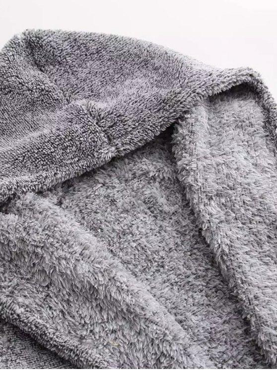 Hooded Fleece Coat - GRAY ONE SIZE Mobile