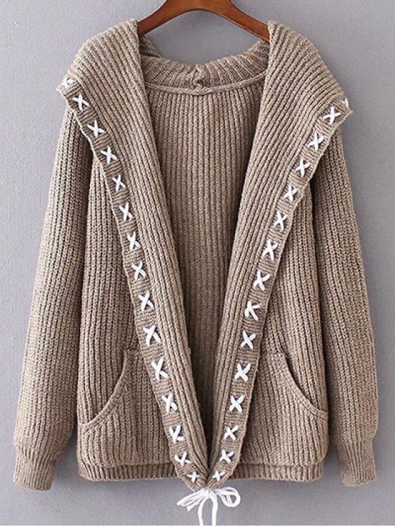 Hooded Cable Knit Cardigan - KHAKI ONE SIZE Mobile