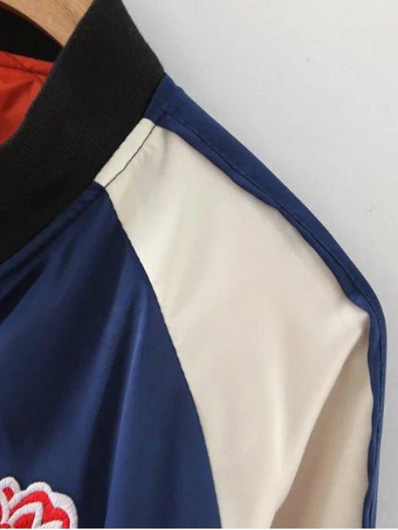 Floral Letter Embroidered Bomber Jacket - BLUE S Mobile