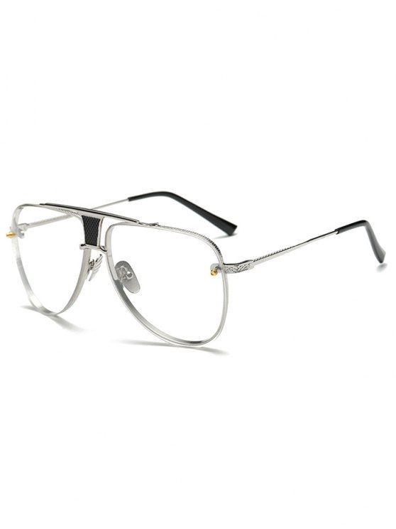 ladies Trapezoid Hollow Out Pilot Sunglasses - SILVER