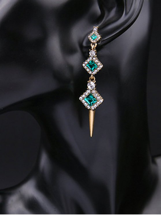 latest Rhinestone Faux Crystal Turquoise Stud Earrings - GREEN
