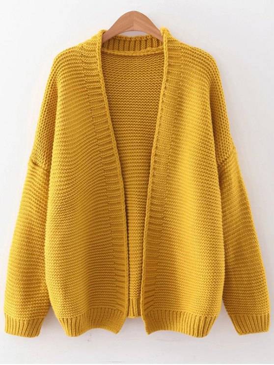 Drop Shoulder Open Cardigan - YELLOW ONE SIZE Mobile