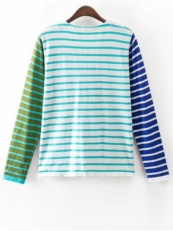 Striped Color Block Long Sleeve T-Shirt - COLORMIX M Mobile