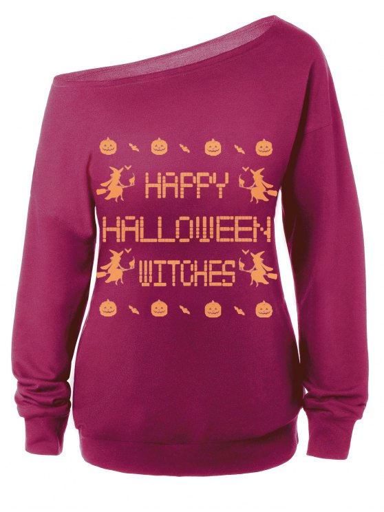 Witches Halloween Sweatshirt - PURPLISH RED M Mobile