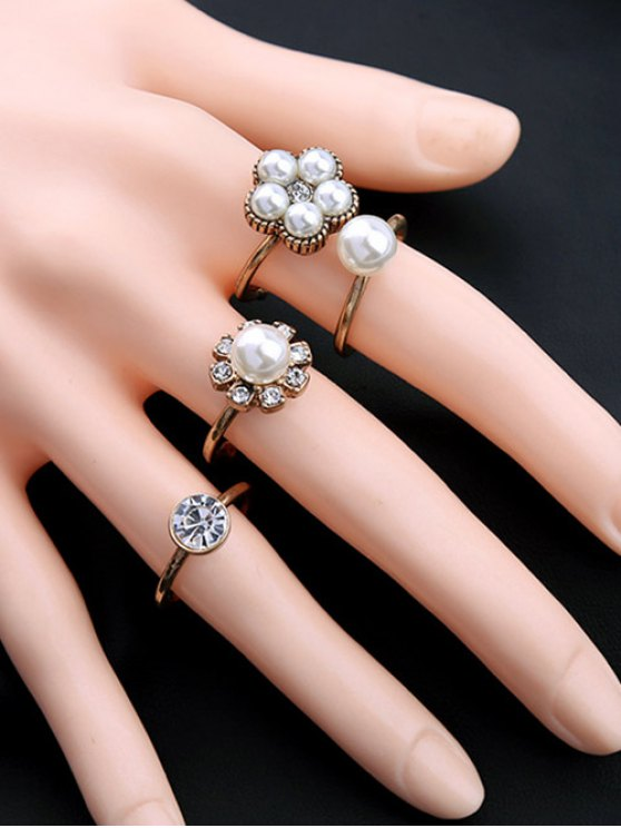 women's Floral Faux Crystal Rhinestone Pearl Rings - WHITE