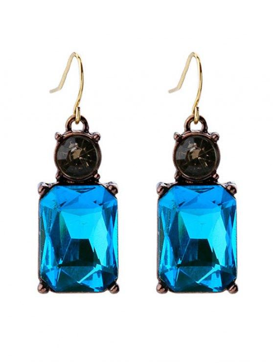 Los pendientes de gota del Rhinestone cuadrado de imitación de cristal - Azul
