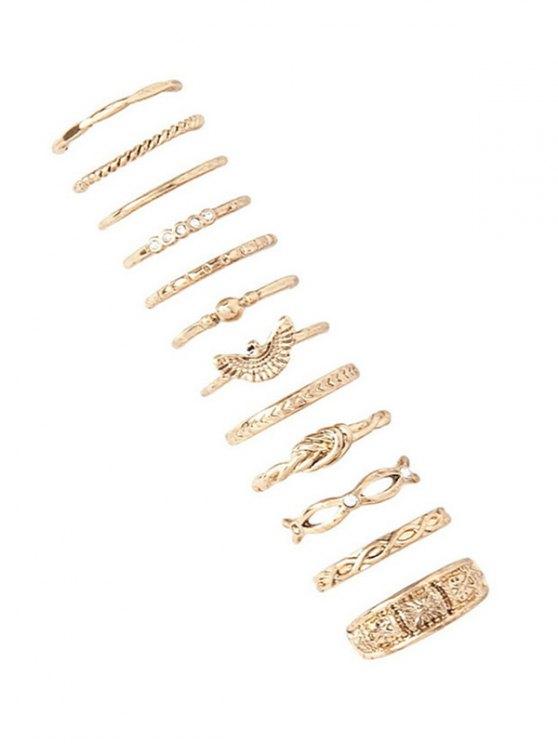 fancy 12 PCS Hemp Flowers Engraved Rings - GOLDEN