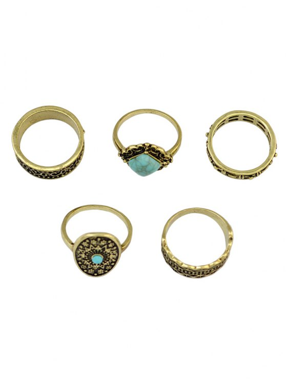 affordable 5 PCS Turquoise Geometry Retro Rings - GOLDEN