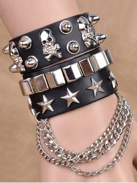 Chaînes Étoile Skull Rivet Bracelets doubles - Noir