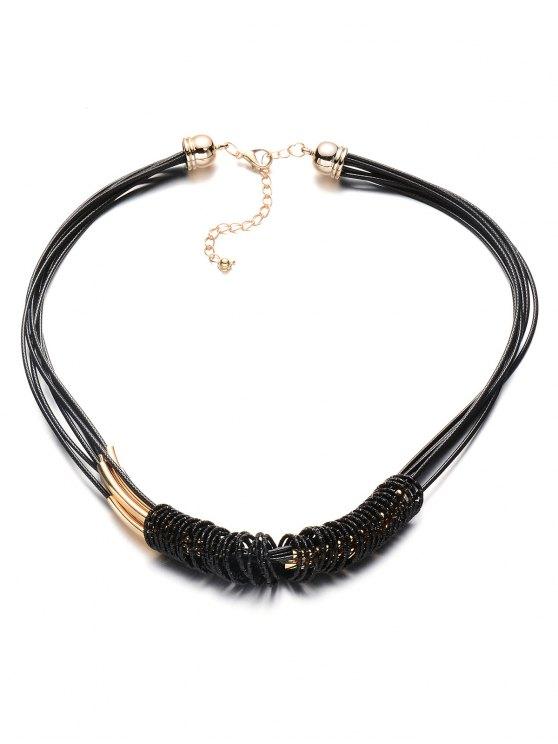 Collar pendiente de la aleación de Círculo de múltiples capas Cuerdas - Negro