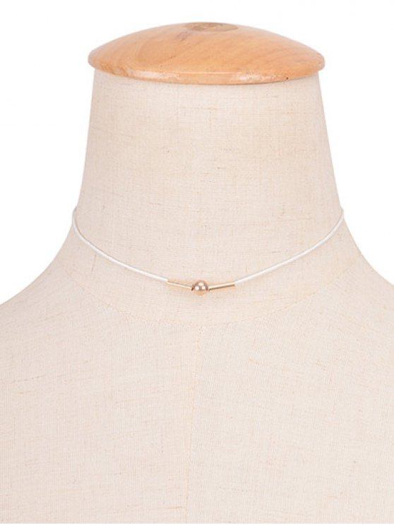 shop Vintage Rope Copper Bead Choker Necklace - WHITE