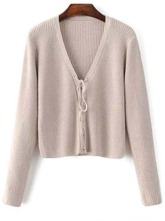 Ate para arriba cuello en V suéter - Tez Única Talla