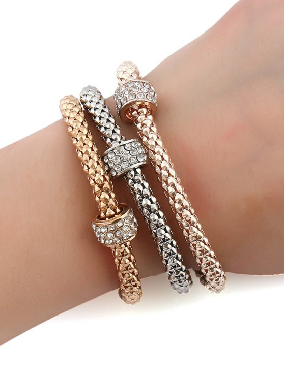 3 PCS Rhinestone Circle Charm Bracelets - GOLDEN  Mobile