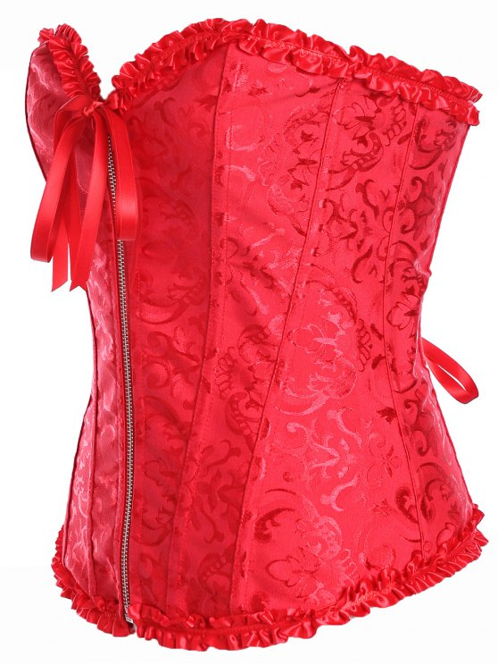 Slimming Zippered Waist Lace Up Corset - RED S Mobile