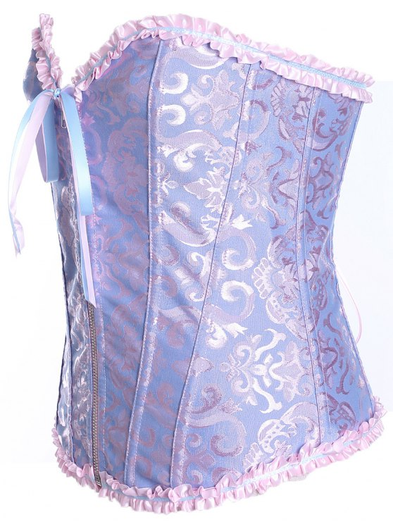 Slimming Zippered Waist Lace Up Corset - LIGHT BLUE L Mobile