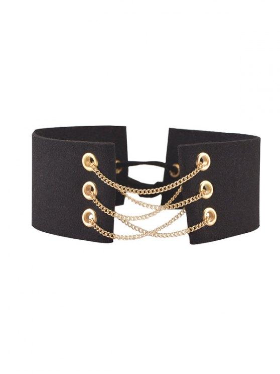 womens Faux Leather Velvet Bowknot Chains Choker - BLACK