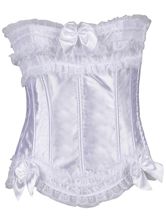 Slimming Bowknot Waist Lace Up Corset - WHITE M Mobile