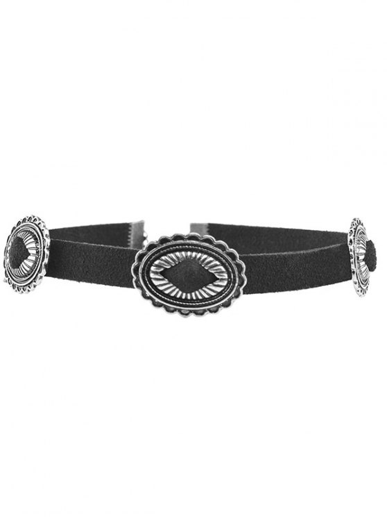 outfit PU Leather Velvet Engraved Geometric Choker - SILVER