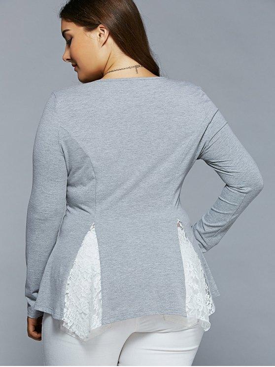 Plus Size Asymmetric Lace Spliced Blouse - LIGHT GRAY 5XL Mobile