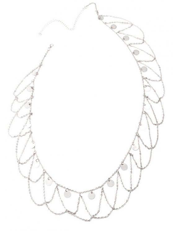 Round Sequins Tassel Wave Belly Chain - SILVER  Mobile