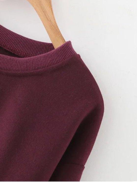 Letter Print Crop Sweatshirt - WINE RED S Mobile