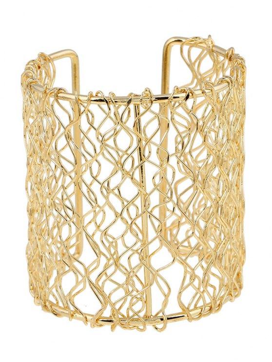 Polished Wave Filigree Cut Out Bracelet - GOLDEN  Mobile