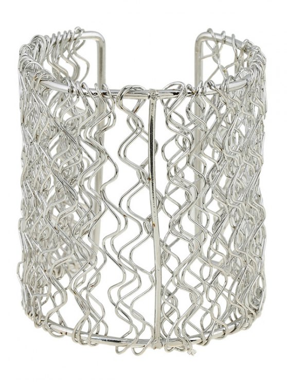 sale Polished Wave Filigree Cut Out Bracelet - SILVER