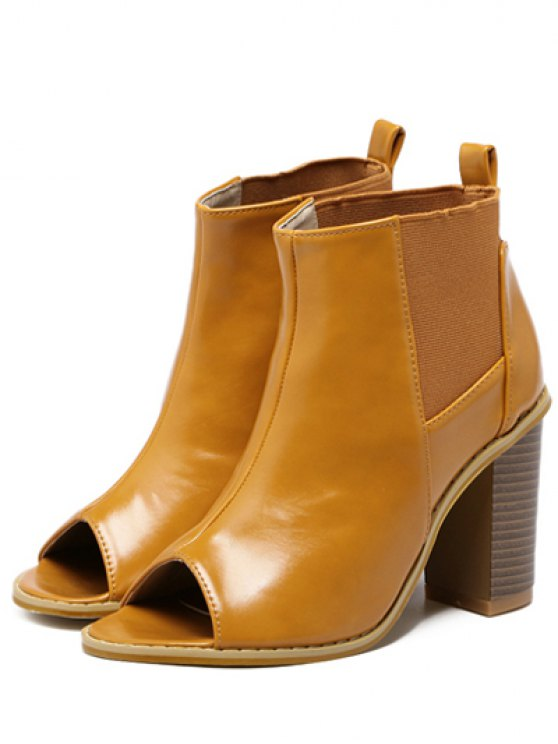 Peep Toe Chunky Heel Elastic Ankle Boots - BROWN 39 Mobile