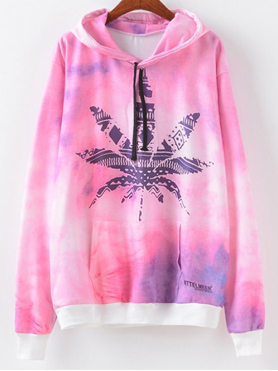 Maple Leaf Print Hoodie - MAPLE PATTERN XL Mobile
