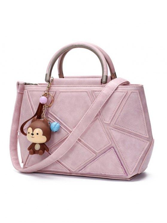Geometric Pattern PU Leather Metal Tote Bag - PINK  Mobile
