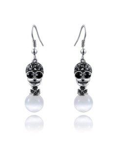 Faux Opal Rhinestoned Skull Flower Earrings - Silver