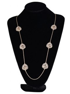 Geometry Beaded Hollowed Pendant Necklace - Golden