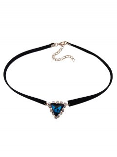 Faux Gem Velvet Triangle Choker - Blue