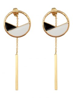 Hollow Out Round Bar Pendant Earrings - Golden