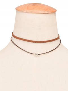 Faux Leather Rope Beaded Layered Choker - Brown