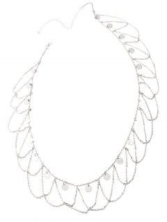 Round Sequins Tassel Wave Belly Chain - Silver