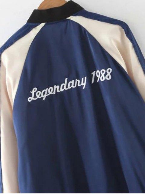fancy Floral Letter Embroidered Bomber Jacket - BLUE S Mobile