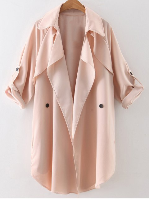 hot Buttoned Waterfall Trench Coat - PINK L Mobile
