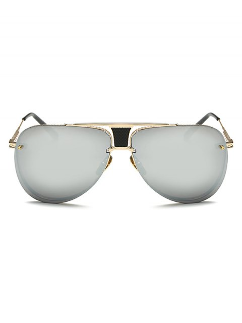 lady Trapezoid Hollow Out Pilot Mirrored Sunglasses - GOLDEN  Mobile