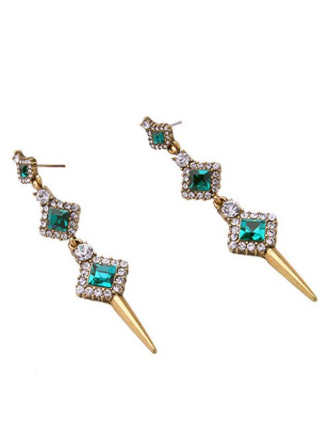 latest Rhinestone Faux Crystal Turquoise Stud Earrings - GREEN  Mobile