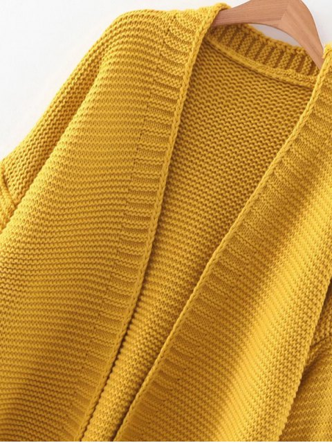 hot Drop Shoulder Open Cardigan - YELLOW ONE SIZE Mobile
