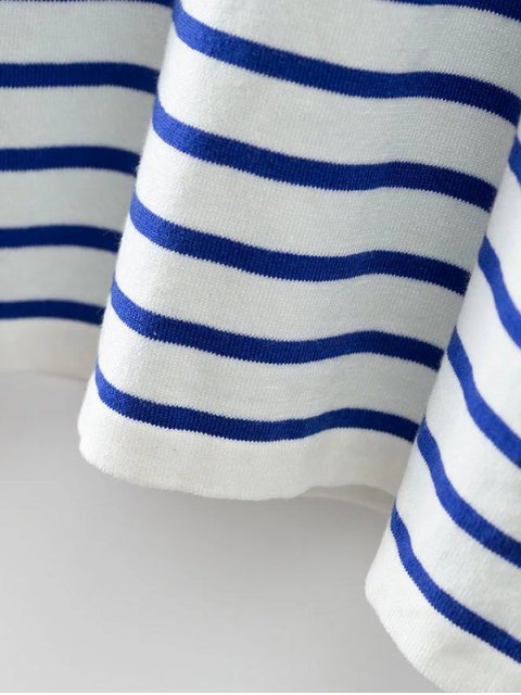 trendy Striped Color Block Long Sleeve T-Shirt - COLORMIX S Mobile