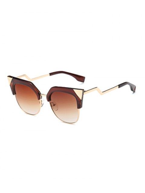 unique Triangle Zigzag Leg Cat Eye Sunglasses - TEA-COLORED  Mobile
