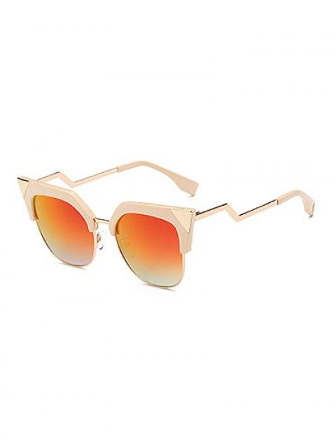 womens Triangle Zigzag Leg Cat Eye Mirrored Sunglasses - WHITE  Mobile