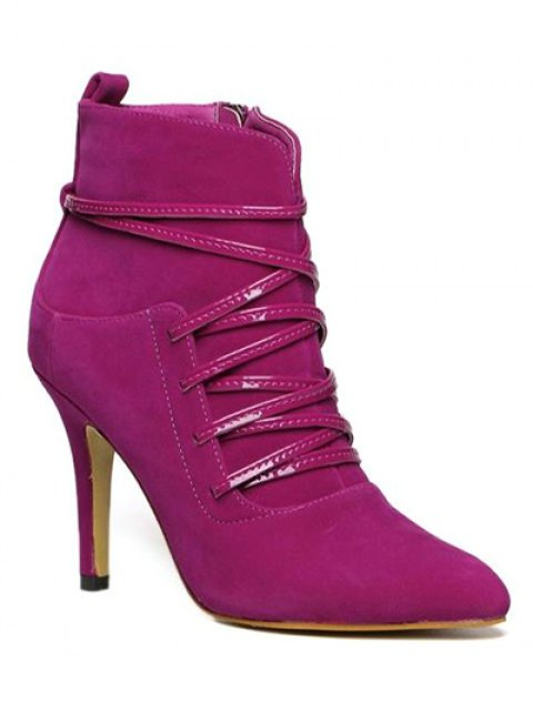 women's Cross Straps Zipper Pointed Toe Ankle Boots - ROSE RED 37 Mobile