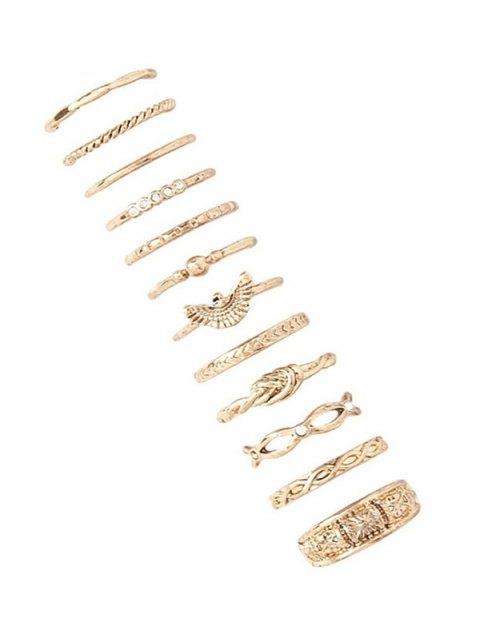 fancy 12 PCS Hemp Flowers Engraved Rings - GOLDEN  Mobile