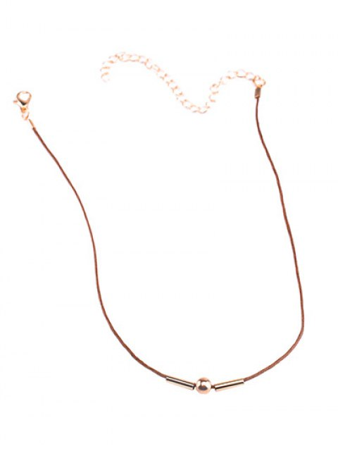 outfit Vintage Rope Copper Bead Choker Necklace - BROWN  Mobile