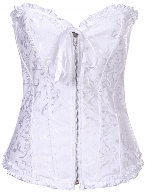 hot Slimming Zippered Waist Lace Up Corset - WHITE 2XL Mobile