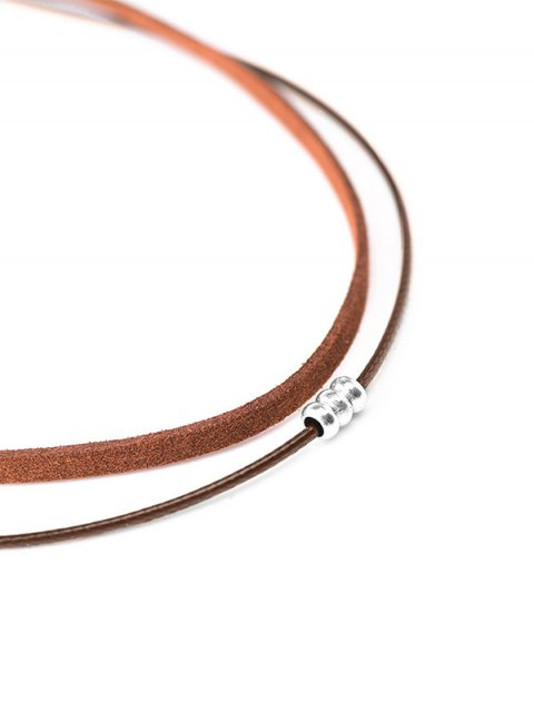 shop Faux Leather Rope Beaded Layered Choker - BROWN  Mobile